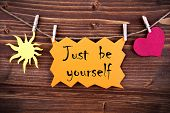 Orange Label With Life Quote Just Be Yourself