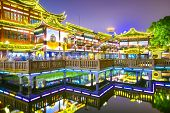 Shanghai, China at Yuyuan Gardens district.
