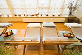Comfortable Deck Chairs In Spa Room