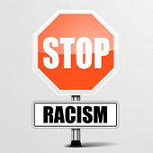 detailed illustration of a red stop Racism sign, eps10 vector