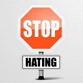 detailed illustration of a red stop Hating sign, eps10 vector
