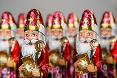 Closeup of Sinterklaas. Sint chocolate figure of  Dutch character of Santa Claus