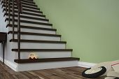 Dangerous tripping hazard with toy on stairs in a house (3D Rendering)