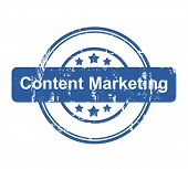 Content Marketing business concept stamp with stars isolated on a white background.