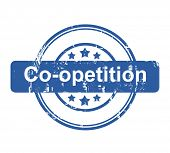Co-opetition business concept stamp with stars isolated on a white background.