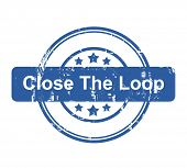 Close the loop business concept stamp with stars isolated on a white background.