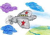 one airplane. children drawing