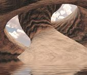 Carved Canyon Cavern of Stone Filled with Water