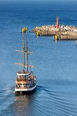 Historic Sailing Ship Leaving Port Of Kolobrzeg, Poland.