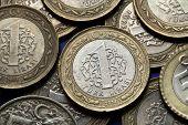 Coins of Turkey. Turkish one lira coins,