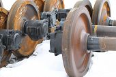 image of railcar  - Railcar wheels on the axles of the wheelset as the element - JPG