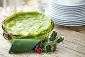 Green Lasagna On Christmas Table
