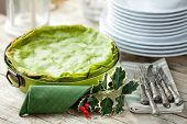 Green Lasagna Decorated For Christmas