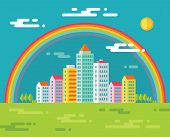 Building and rainbow in city - vector concept illustration in flat design style