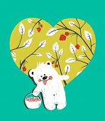 Cartoon Baby Bear with Raspberries Heart Background