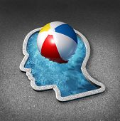 stock photo of sabbatical  - Leisure thinking concept and mental relaxation symbol as a swimming pool shaped as a human face with a beach ball representing the brain as a metaphor for planning a vacation or taking a break to manage stress with fun and relaxing activities - JPG