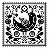Folk art black pattern with bird and flowers