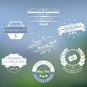 Set of vector vintage sale labels and ribbons