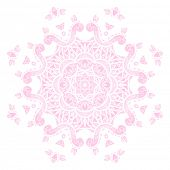 Pink round pattern, Circular ornament design element, Vector isolated on white