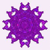 Purple abstract round pattern, Circular ornament design element, Vector isolated