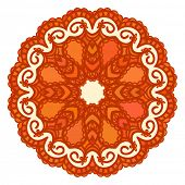 Orange round pattern, Circular ornament design element, Vector isolated