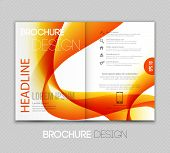 Abstract Template Brochure Design  With Orange Wave