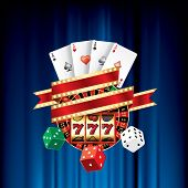 vector gambling casino elements on blue velvet
