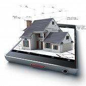 3D rendering of a smart phone with a house and blueprints jutting out