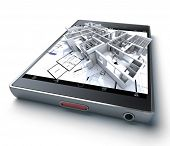 3D rendering of a smart phone with a building and blueprints jutting out