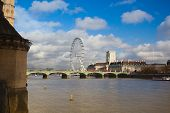 London Eye And Thames South Bank In Autumn London