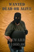 A genuine Bad Guy aka Burglar holds a stolen computer monitor while posing on a Wanted Dead or Alive poster.