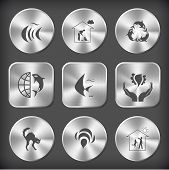 Animal set. Vector round and square steel buttons.
