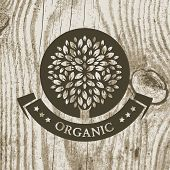 Organic Product Badge With Tree On Wooden Texture. Vector Illustration Background