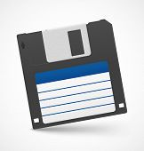 Black floppy diskette on white background