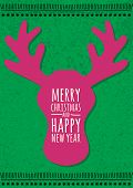 Abstract Vector Deer Head On Green Grunge Background. Christmas Or New Year Greeting Card, Invitatio