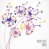Abstract Colorful Heart Dandelion Flower. Vector Floral Background. Design Concept For Spa, Beauty S