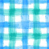 pic of tartan plaid  - Seamless watercolor bold plaid pattern with blue stripes - JPG