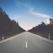 Driving Empty Highway In Summer. Vintage.