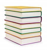 Stack Of Colorful Book In The Textile Cover On Isolated White