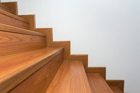 pic of laminate  - wooden staircase made from laminate wood in white modern house - JPG