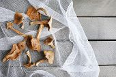foto of edible mushroom  - Dried mushrooms on white fabric - JPG