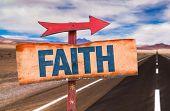 image of faithfulness  - Faith sign with road background - JPG