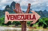 picture of canaima  - Venezuela wooden sign with countryside background - JPG