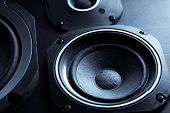 picture of subwoofer  - Detail shot of some old round speakers - JPG