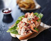 stock photo of slating  - lobster roll on slate surface - JPG