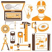 image of mechanical engineering  - mechanical tools and engineering elements icons in white background - JPG