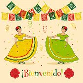 foto of mexican  - vivid poster template with illustration of mexican carnival - JPG
