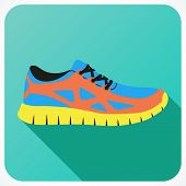 pic of shoes colorful  - Shoes flat icon with bright colorful running sneakers - JPG