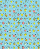 image of princess crown  - Seamless vector pattern of the crown princess in a children - JPG