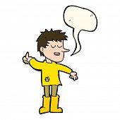 pic of attitude boy  - cartoon poor boy with positive attitude with speech bubble - JPG